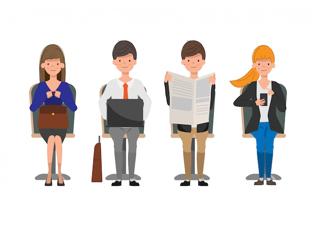 Geschäftsleute, die charakter sitzen. Premium Vektoren