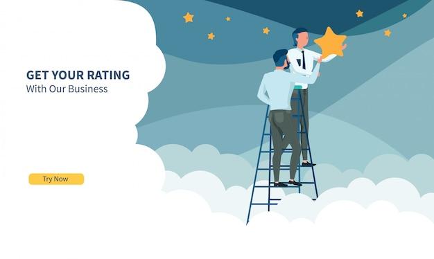 Geschäftsleute, die den stern mit flachem design und landing page auswählen Premium Vektoren