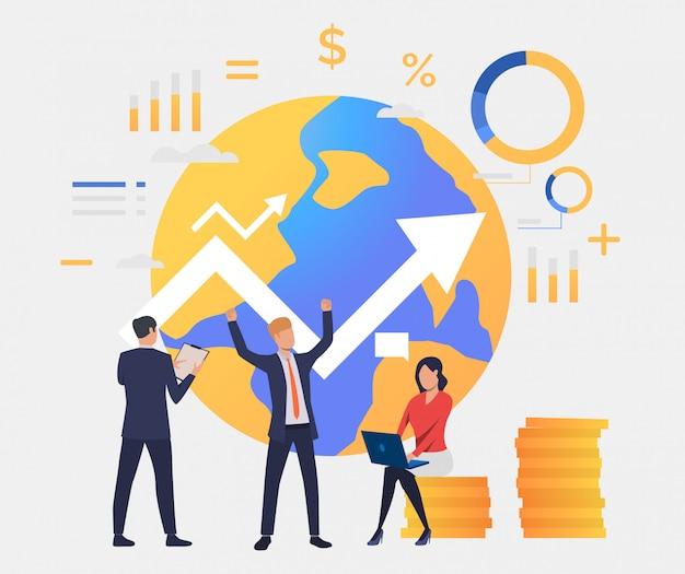 Geschäftsleute, die erfolg, steigender pfeil bearbeiten und feiern Kostenlosen Vektoren