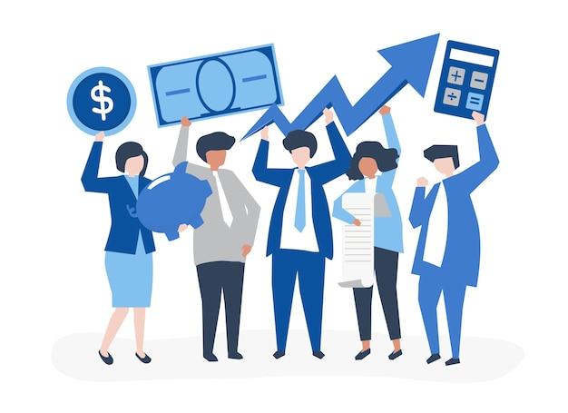 Geschäftsleute, die finanzwachstumskonzept halten Kostenlosen Vektoren