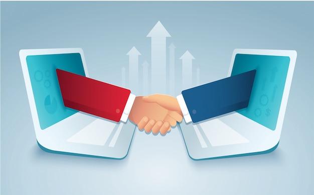 Geschäftsleute, die hände durch laptop rütteln Premium Vektoren