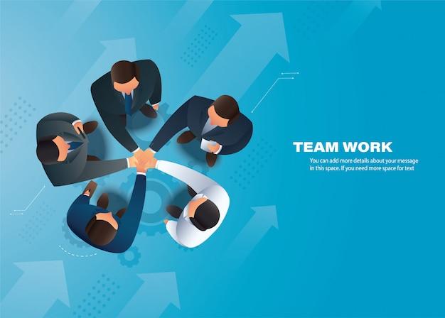 Geschäftsleute, die ihre hände zusammenlegen, teamarbeit Premium Vektoren
