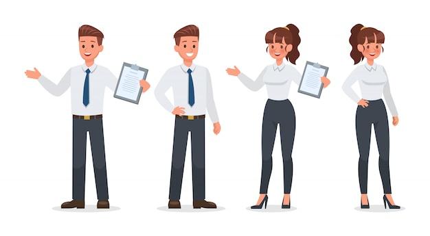 Geschäftsleute, die im bürozeichensatz arbeiten Premium Vektoren