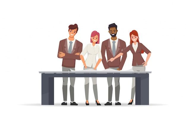 Geschäftsleute, die im teamwork-brainstroming-charakter arbeiten. Premium Vektoren