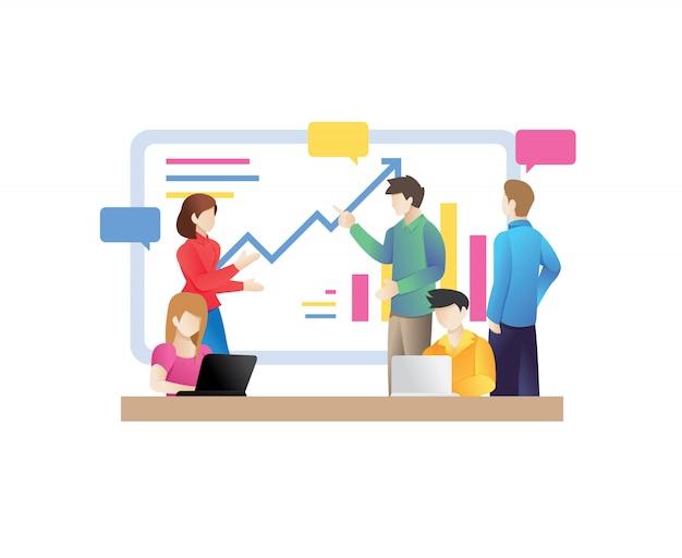 Geschäftsleute, die konferenzkonferenzzimmer sprechen Premium Vektoren