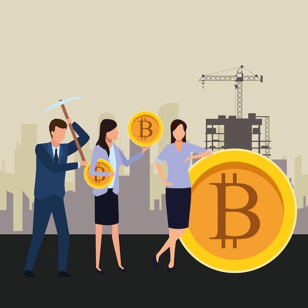 Geschäftsleute, die kryptowährung halten Premium Vektoren