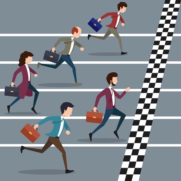 Geschäftsleute, die marathon gewinnen. geschäftssport, erfolgsmarathonwettbewerb, geschäftsziel Kostenlosen Vektoren