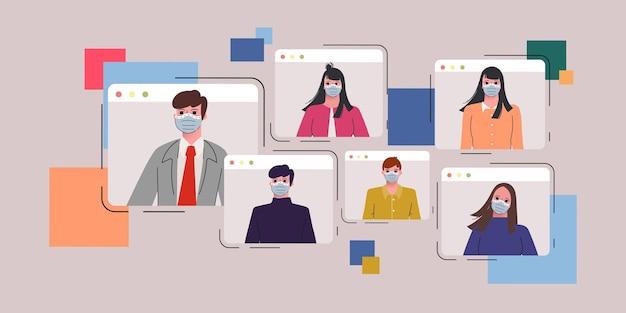 Geschäftsleute, die mit horizontaler vektorillustration des videoanrufkonferenzkonzeptporträts zusammenarbeiten. Premium Vektoren