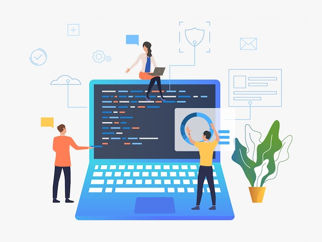 Geschäftsleute, die über laptopentwicklung arbeiten Kostenlosen Vektoren