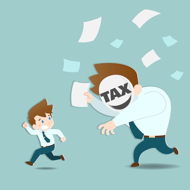 Geschäftsleute, die vor der riesigen steuer davonlaufen. Premium Vektoren