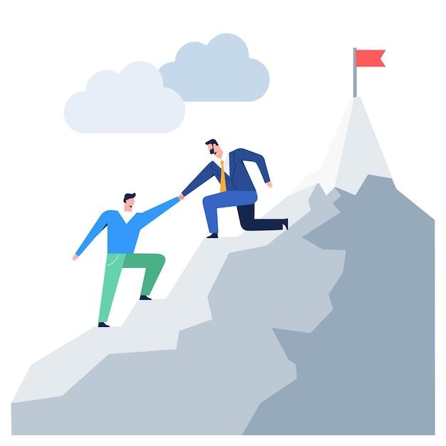 Geschäftsleute, die zum helfenden kollegen des gebirgsführers erreichen ziel klettern Premium Vektoren