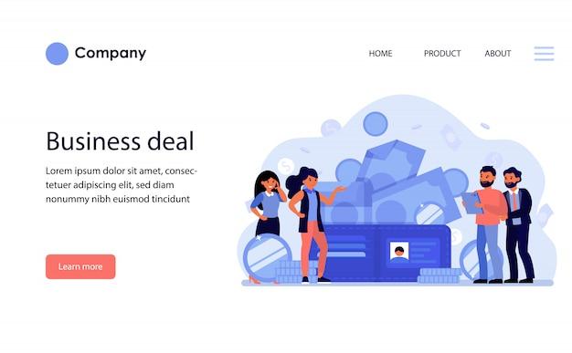 Geschäftsleute diskutieren deal. website-vorlage oder zielseite Kostenlosen Vektoren