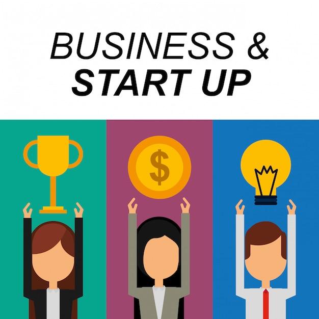 Geschäftsleute erfolg trophäe geld birne idee geschäft und starten Premium Vektoren