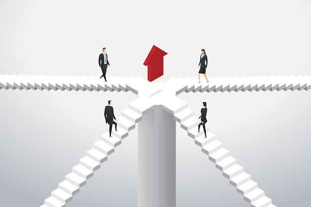 Geschäftsleute gehen die treppe hinauf, um rot zum ziel zu gelangen. isometrische konzeptillustration Premium Vektoren