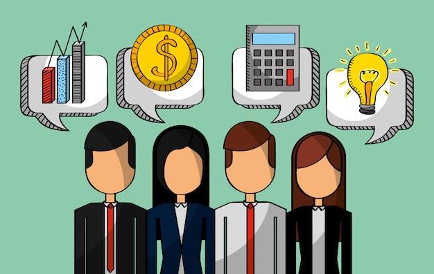 Geschäftsleute geldchartrechner und -idee Premium Vektoren