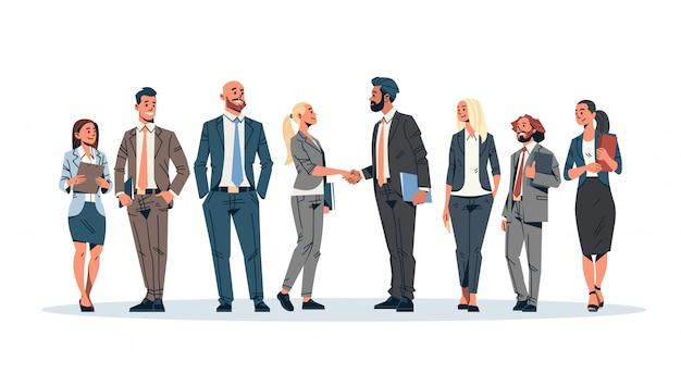 Geschäftsleute gruppe handshake banner Premium Vektoren