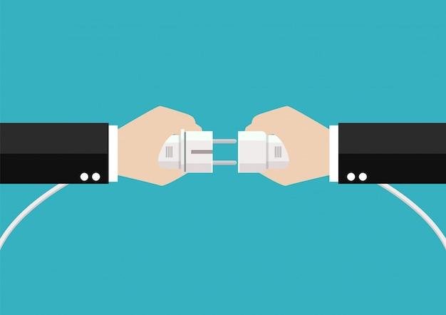 Geschäftsleute hände verbinden stecker und steckdose Premium Vektoren