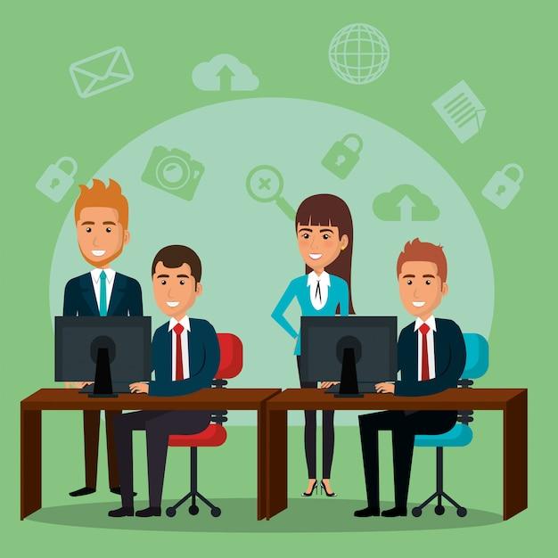 Geschäftsleute im büro mit e-mail-marketing-symbole Kostenlosen Vektoren