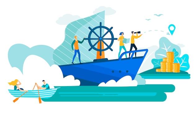 Geschäftsleute im flachen vektor des bootes und des schiffs. Premium Vektoren