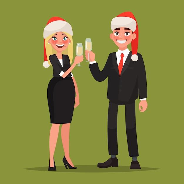 Geschäftsleute in weihnachtsmützen gratulieren zum feiertag. mann und frau mit gläsern champagner. illustration Premium Vektoren