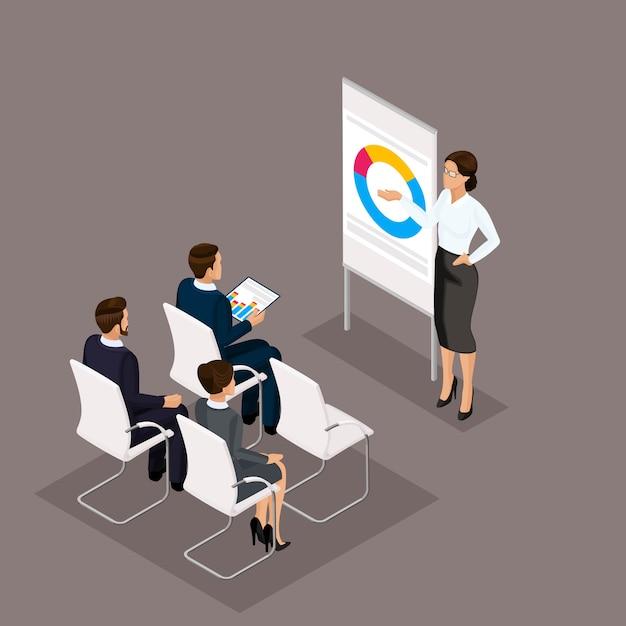 Geschäftsleute isometrischer satz frauen mit den männern, training, trainer im büro lokalisiert auf einem dunklen hintergrund Premium Vektoren