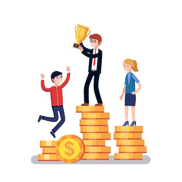 Geschäftsleute konkurrenten feiern erfolg Kostenlosen Vektoren