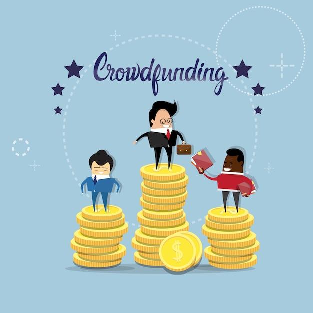 Geschäftsleute leute-gruppen-finanzierungs-investitions-konzept Premium Vektoren