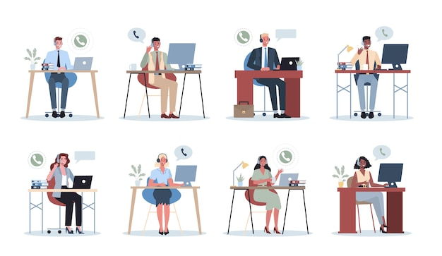 Geschäftsleute mit kopfhörer. call-center-bürokonzept. weibliche und männliche charaktere sprechen mit kunden oder kollegen. idee der kundenbetreuung. hilfsarbeit. . Premium Vektoren