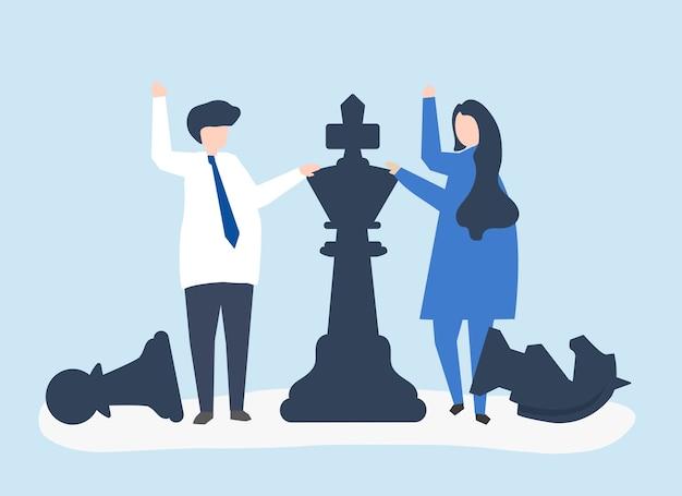 Geschäftsleute mit riesigen schachfiguren Kostenlosen Vektoren