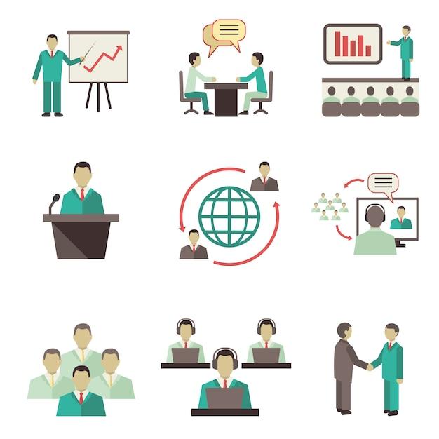 Geschäftsleute online globale diskussionen teamwork zusammenarbeit, besprechungen und präsentationen Kostenlosen Vektoren