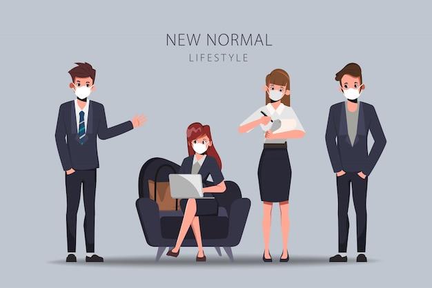 Geschäftsleute pflegen soziale distanz und tragen eine gesichtsmaske. neuer normaler lebensstil. Premium Vektoren