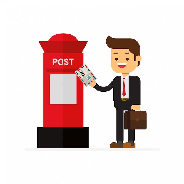 Geschäftsleute senden briefe an den roten briefkasten Premium Vektoren