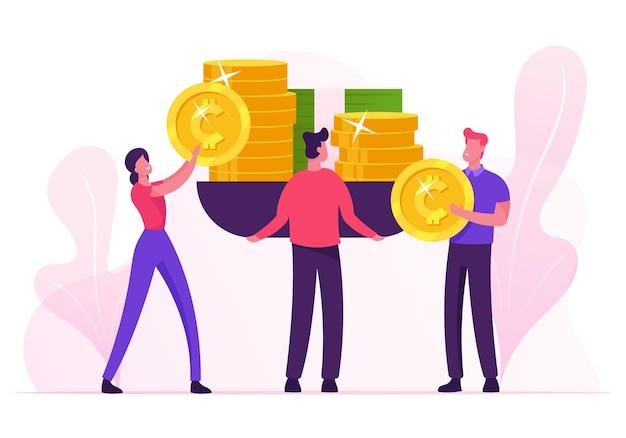 Geschäftsleute setzen riesige waagen auf goldene münzen und banknoten, die geld wiegen. karikatur flache illustration Premium Vektoren
