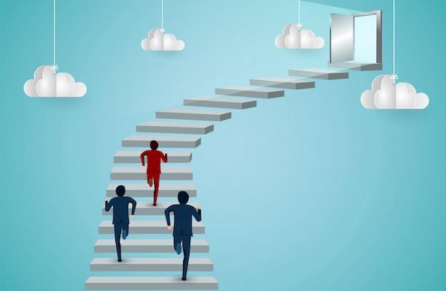 Geschäftsleute sind konkurrenz, die die treppe zur tür hinauf rennen Premium Vektoren