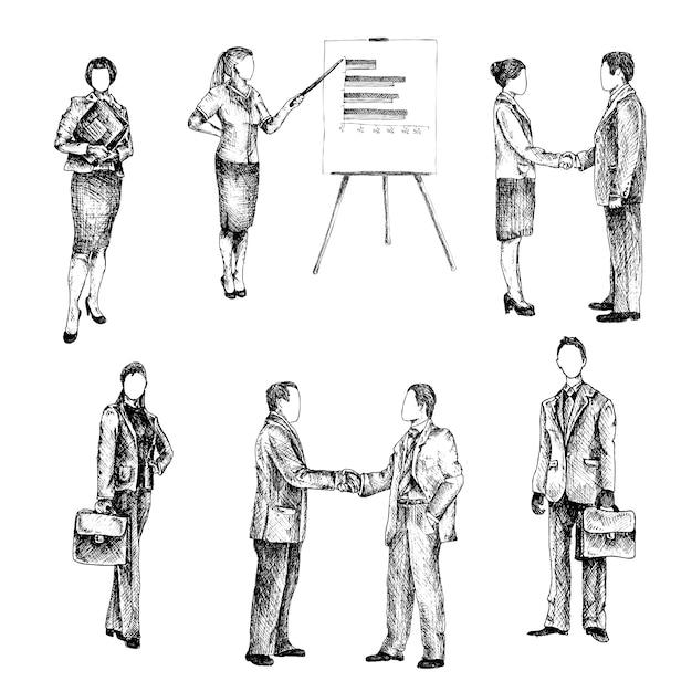 Geschäftsleute skizze gesetzt Premium Vektoren
