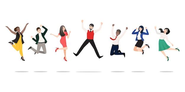Geschäftsleute springen, um den sieg zu feiern. fröhliche gemischtrassige menschen, die zusammen feiern. Premium Vektoren