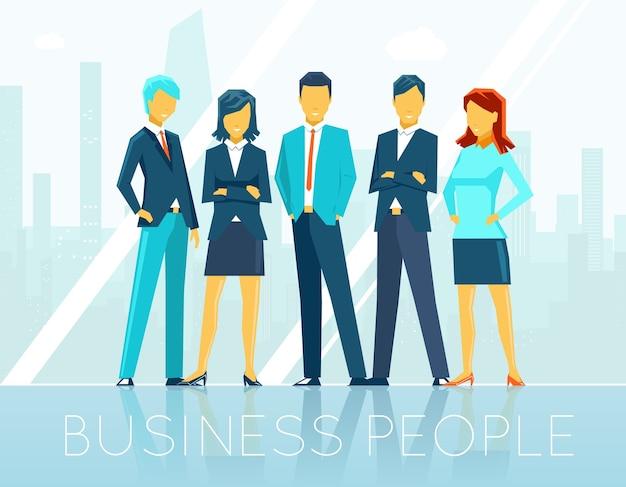 Geschäftsleute. teamarbeit und person, teamkommunikation, diskussionsseminar, vektorillustration Kostenlosen Vektoren