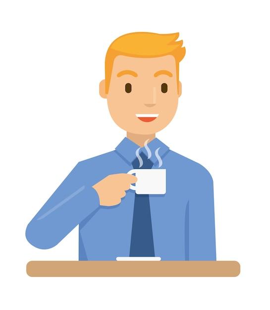 Geschäftsleute trinken kaffee Premium Vektoren