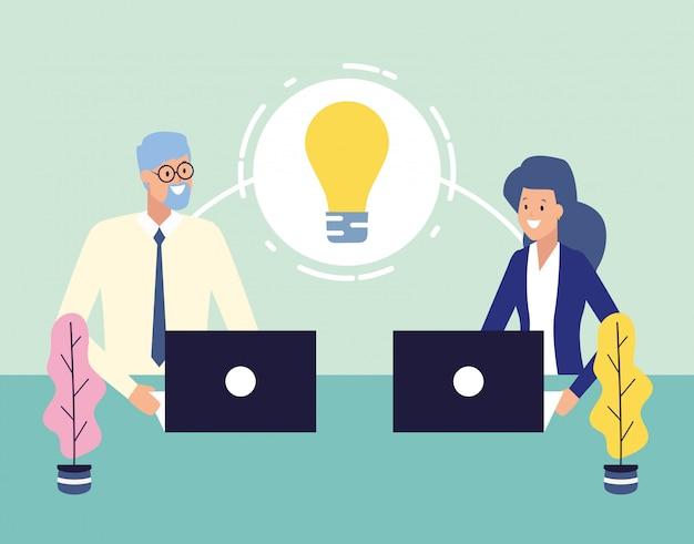 Geschäftsleute und arbeitskonzept Kostenlosen Vektoren