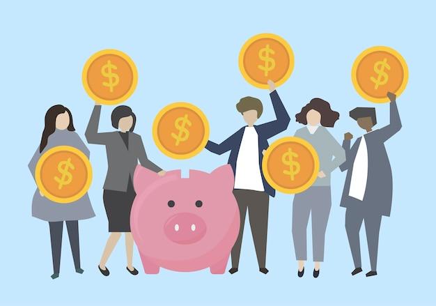 Geschäftsleute und banker mit geldillustration Kostenlosen Vektoren