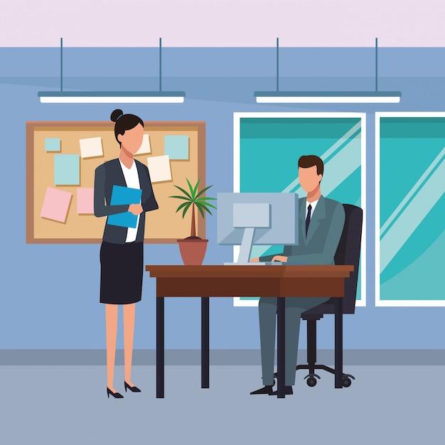 Geschäftsleute und büro Premium Vektoren