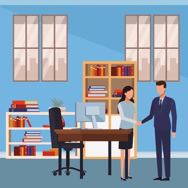 Geschäftsleute und büroelemente Premium Vektoren