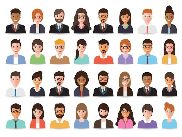 Geschäftsleute und business-avatare. Premium Vektoren