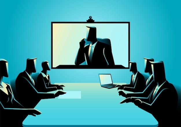 Geschäftsleute und frauen, die telekonferenzsitzung haben Premium Vektoren
