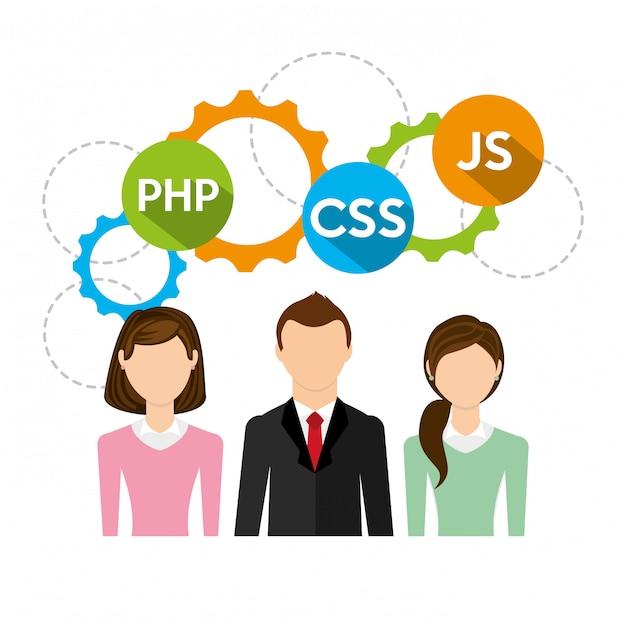 Geschäftsleute und software codieren abbildung Premium Vektoren