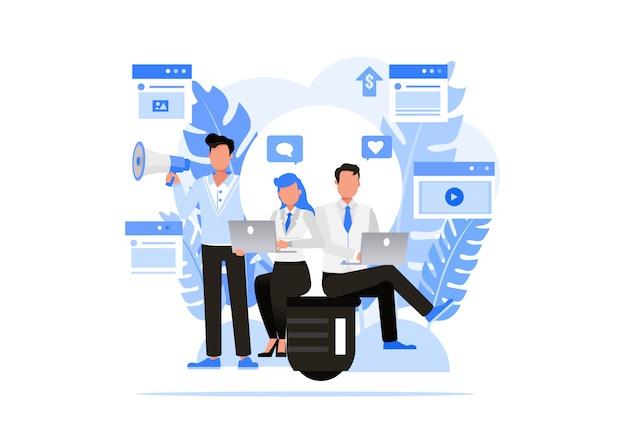 Geschäftsleute zeichensatz. konzept der digitalen agenturen. Premium Vektoren