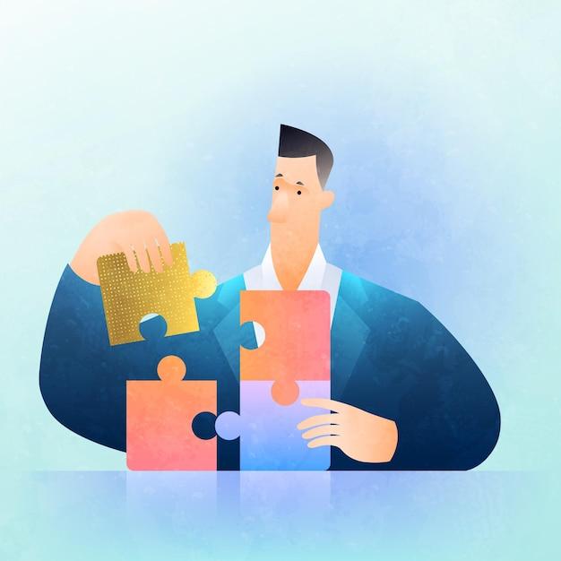 Geschäftslösungskonzeptillustration mit geschäftsmann, der puzzle löst, herauszufinden, was am besten ist Premium Vektoren