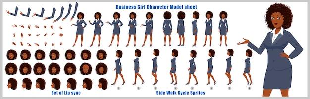 Geschäftsmädchen charakter-modellblatt mit laufzyklusanimationen und lippensynchronisierung Premium Vektoren