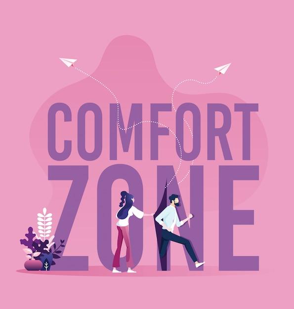 Geschäftsmänner, die aus der komfortzone heraus laufen Premium Vektoren