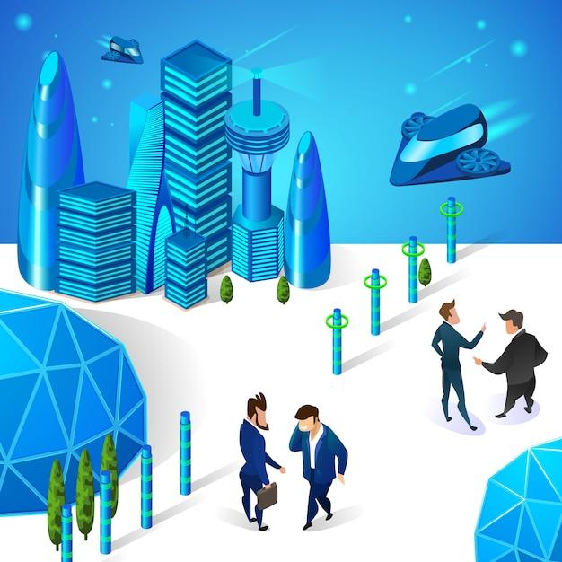 Geschäftsmänner, die in der futuristischen intelligenten stadt in verbindung stehen Premium Vektoren